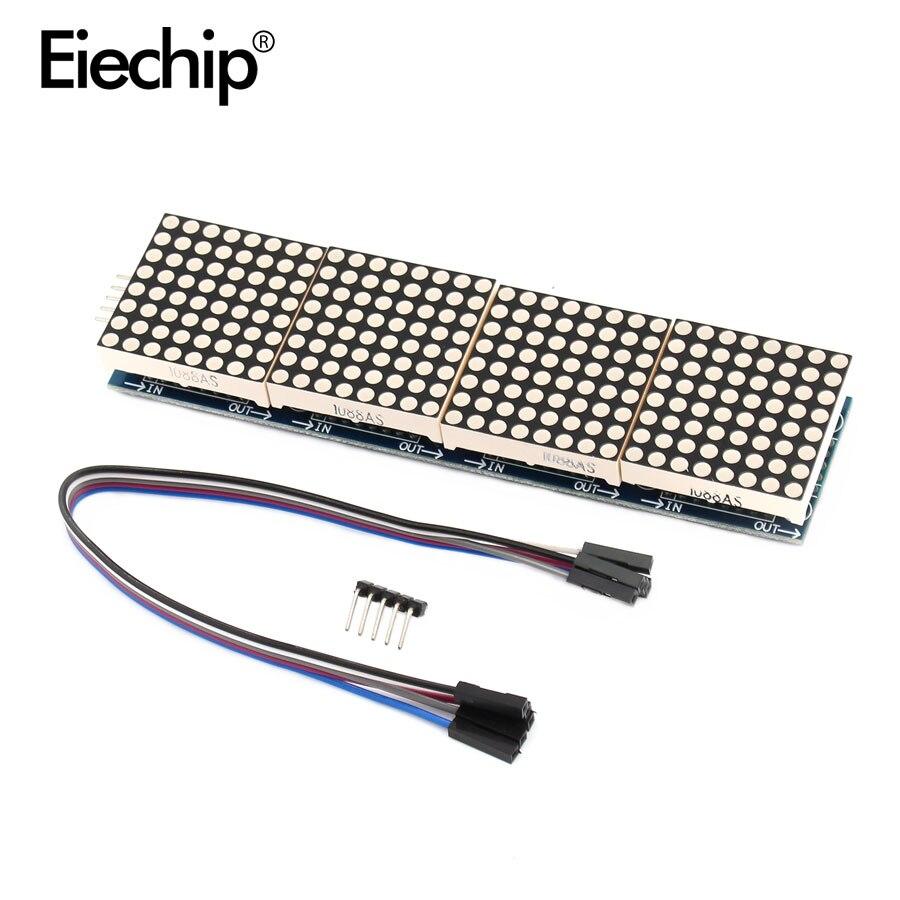 Affichage LED MAX7219 Module matriciel microcontrôleur 4 en un affichage avec 5P ligne 4 en 1 panneau de écran LED de téléviseur rouge/vert