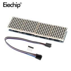 Светодиодный дисплей MAX7219, модуль точечной матрицы, микроконтроллер, 4 в одном дисплее с 5P линией, 4 в 1, красная/зеленая ТВ Светодиодная панел...