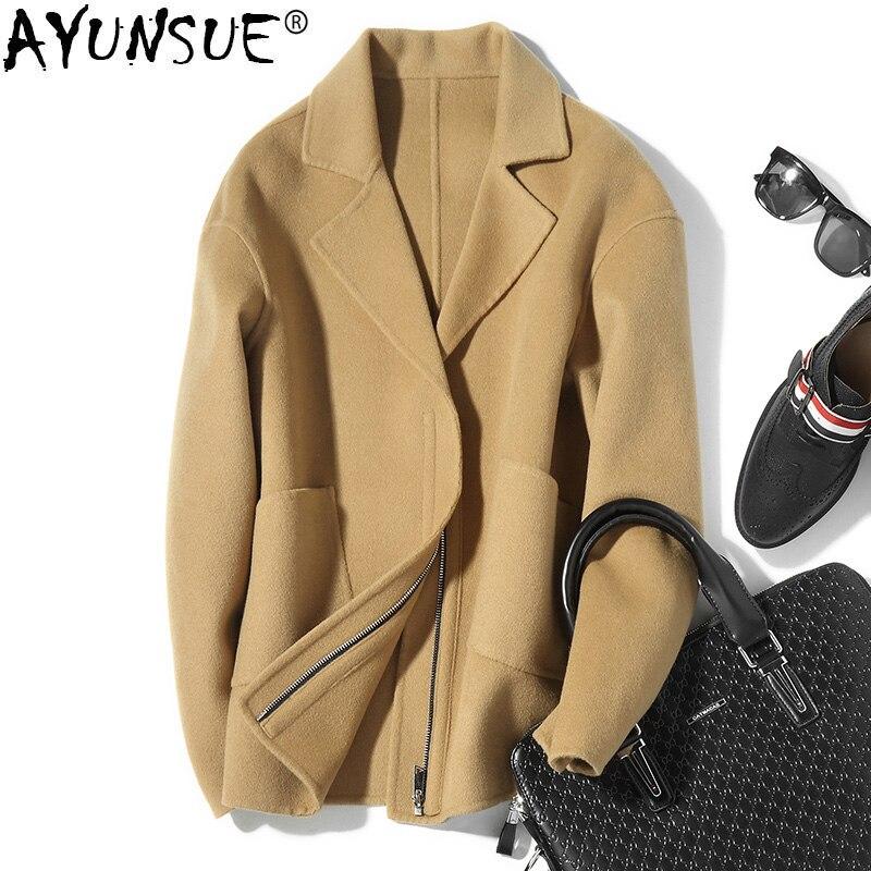 AYUNSUE 100% шерстяное пальто короткое весна осень Двухсторонняя куртка мужская Пальто и куртка Мужские пальто Abrigo Hombre D 04 19511 KJ1040