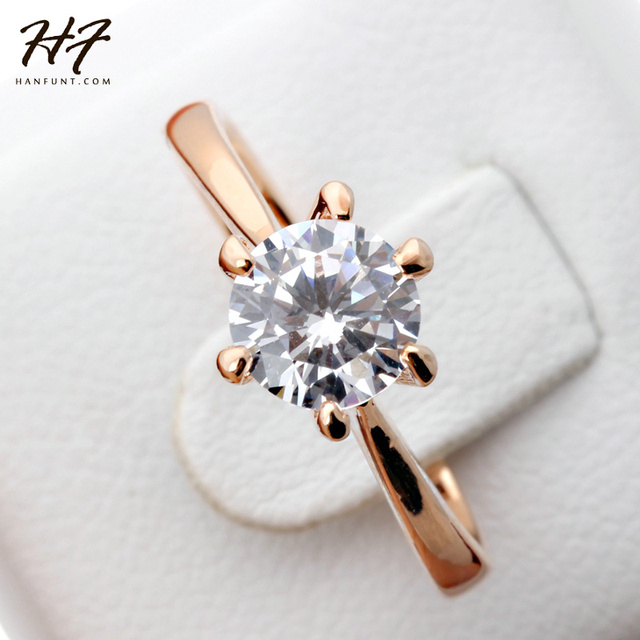 Rose Gold Color Classic Simple Design 6 Prong Sparkling Solitaire 1ct Zirconia Forever Wedding Ring HotSale R014