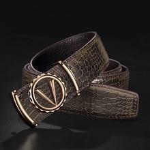 デザイナーベルト男性高品質の高級 100% リアル牛革本革ヴィンテージ 3.3 センチメートル男性ベルト手紙 V 合金バックル