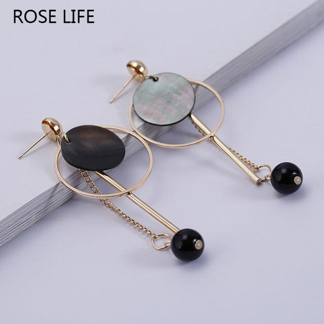 Rose Life Fashion Earrings Metal Anti Allergic Retro Wooden Beads Jewlery For Women