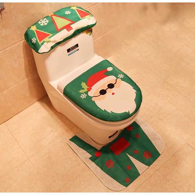 3 PCS Di Natale Decorazioni Per La Casa Wc Zerbino Di Natale Tavolette copriwate