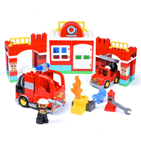 109pcs DIY Fire Police Station Model Building Blocks Bricks Compatible With Duploe City Educational Toys for Children Kids Gift