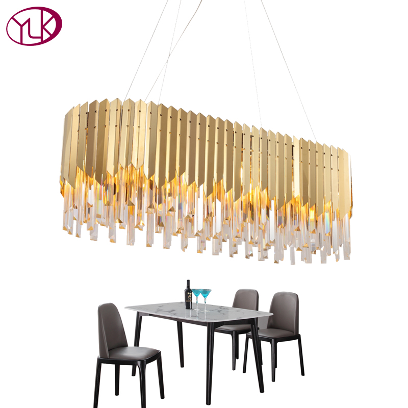 купить Youlaike Dining Room Crystal Chandelier Rectangle Modern LED Cristal Lustre Gold Stainless Steel Suspension Lighting Fixture недорого