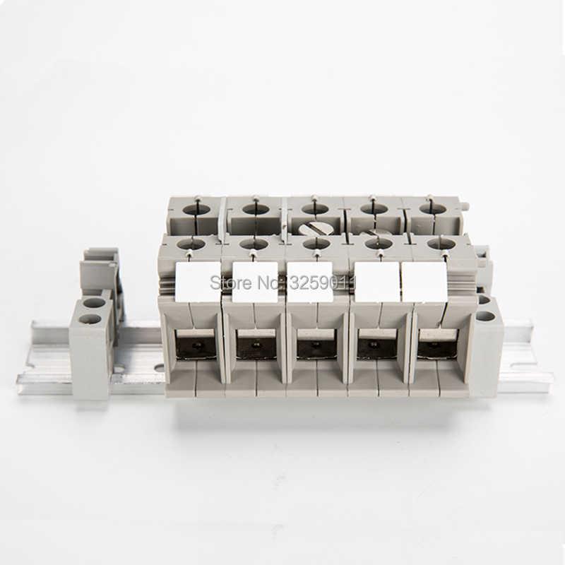 1 PZ Passante Morsettiera Tipo Combinato 125 A 1000 V UK-35N Grigio Grigio filo connettore