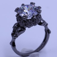 Top Sell Punk Fashion Jewelry 10kt Black Gold Filled Round Cut 5A White Clear Cubic Zirconia