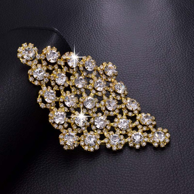 Crystal Square shape Rhinestone Patch Trim Motifs Bridal Gold