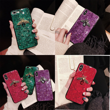 Luxury diamond metal Marble glitter bee silicone phone case for samsung J Series J6 4 8 2018 plus j330 530 730 j5 7 j510 710 250