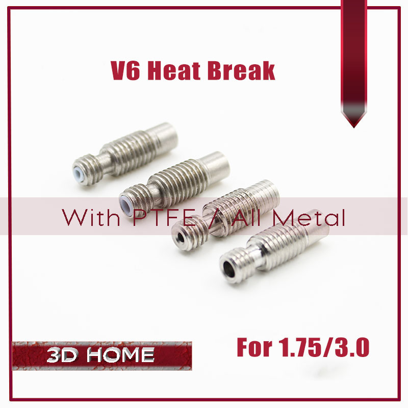 5Pcs Extruder 3D V6 HeatBreak Hotend Throat For 1.75/3.0mm Filament With PTFE/All-Metal M6 M7 Stainless Steel Feeding Tube Pipes