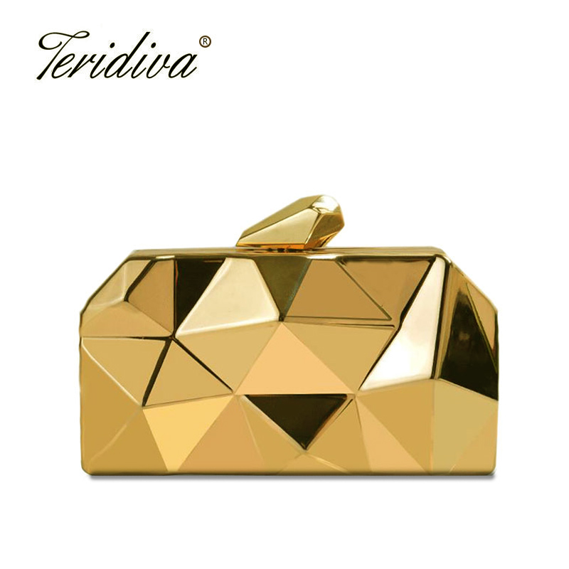 Teridiva Fashion Women Evening Bag Geometric 3D Metal Lady Evening Clutch Purses Luxury Day Clutches for Party Handbag Wallet luxury crystal clutch handbag women evening bag wedding party purses banquet