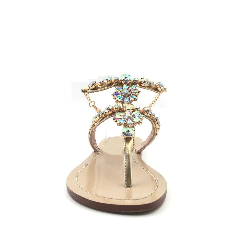Gladiador Zapatos Diamantes Cadenas Planas Hualun De Mujer Sandalias Imitación Alto Talla Grande Tacón If76Ybgyv