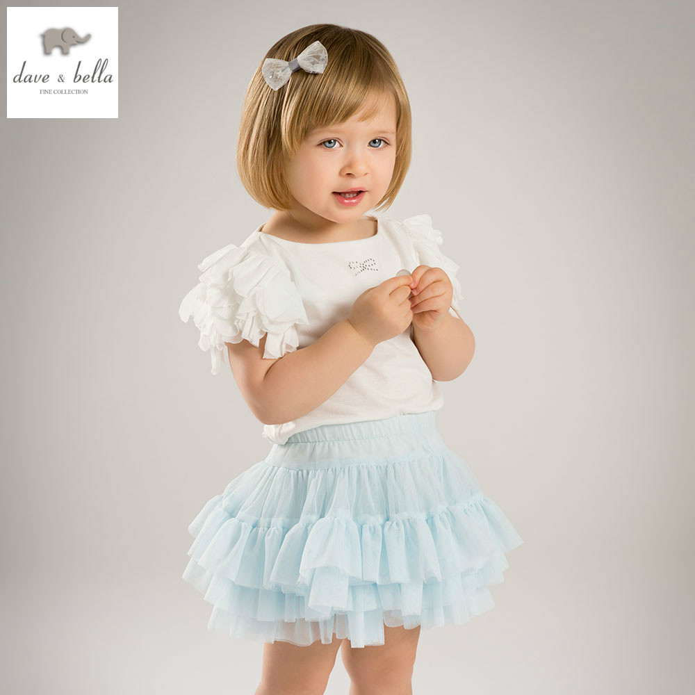 DB5147 dave bella summer baby girls white top light blue skirt 2 pieces set girls skirt sets infant clothes kids baby costumes цена
