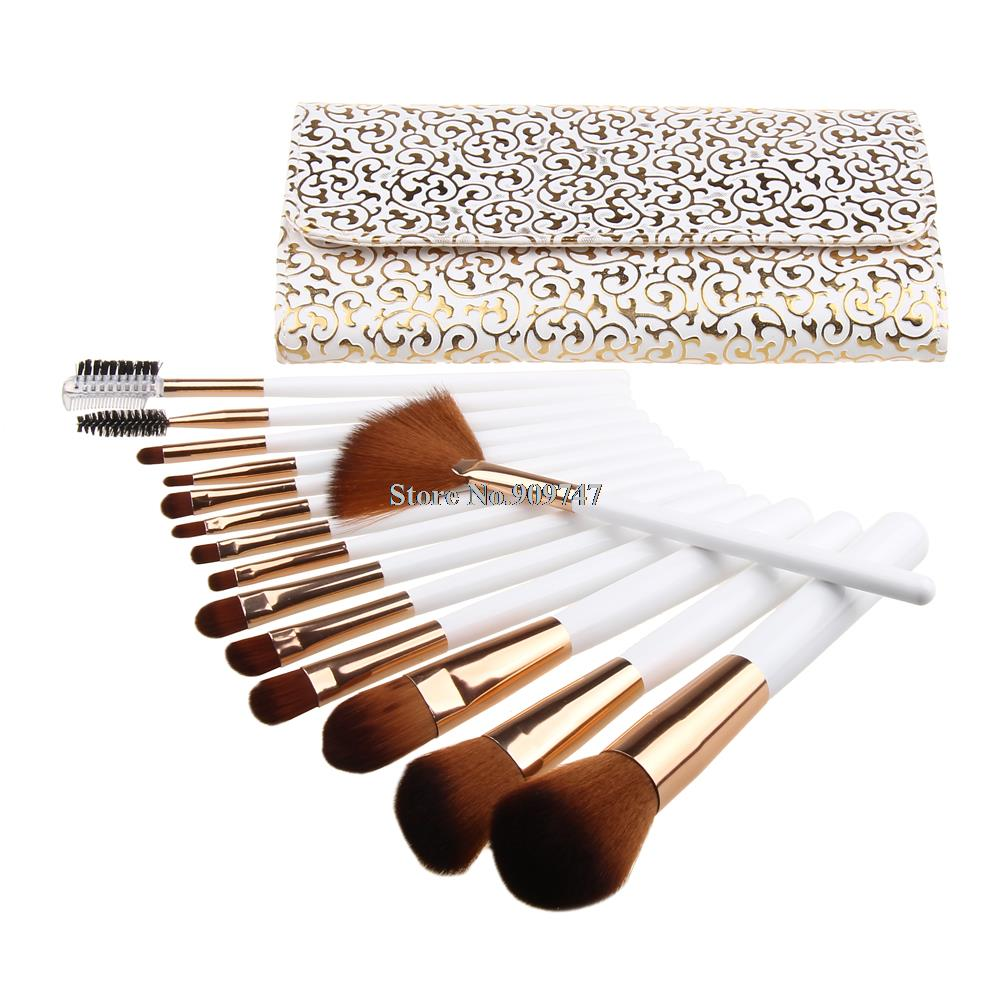 15 pcs Soft Synthetic Hair make up tools kit Cosmetic Beauty Makeup Brush Black Sets free shipping 15 pcs soft synthetic hair make up tools kit cosmetic beauty makeup brush black sets with leather case