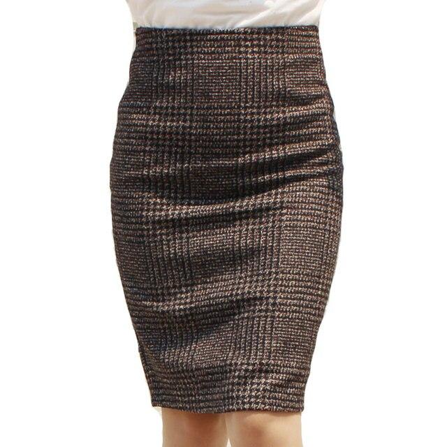 59256913bb Women Skirts 2017 Autumn Winter Slimming Fashion High Waist Pencil Skirts  Office Fashion Female Brown Elegant Knee-Length Skirts