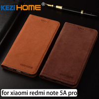 For Xiaomi Redmi Note 5A Pro Case Flip Matte Genuine Leather Soft TPU Back Cover For