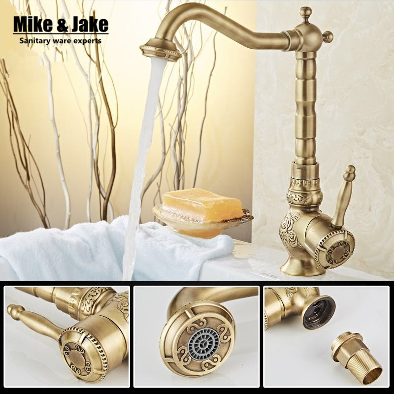 New Arrivel Single Handle Bathroom antique brass Faucet Basin crane tap Antique bronze Hot and Cold Water tap Home water mixer orb black brass bathroom faucet basin tap 360 degree rotating single handle hot and cold water mixer taps crane antique jp115