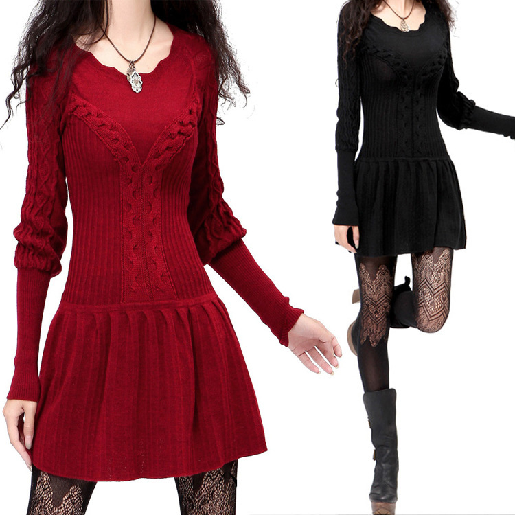 2019 Spain style vintage long sleeve o neck black red solid sweater autumn winter boho elegant pullovers knitwear free shipping