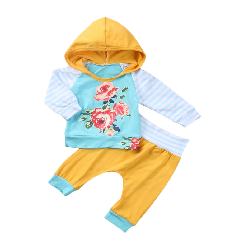 2018 Baby Girl Clothes 2pcs Clothing Sets yellow Cotton Peony Flower Hooded+pants Newborn Clothes Hot Sale M2