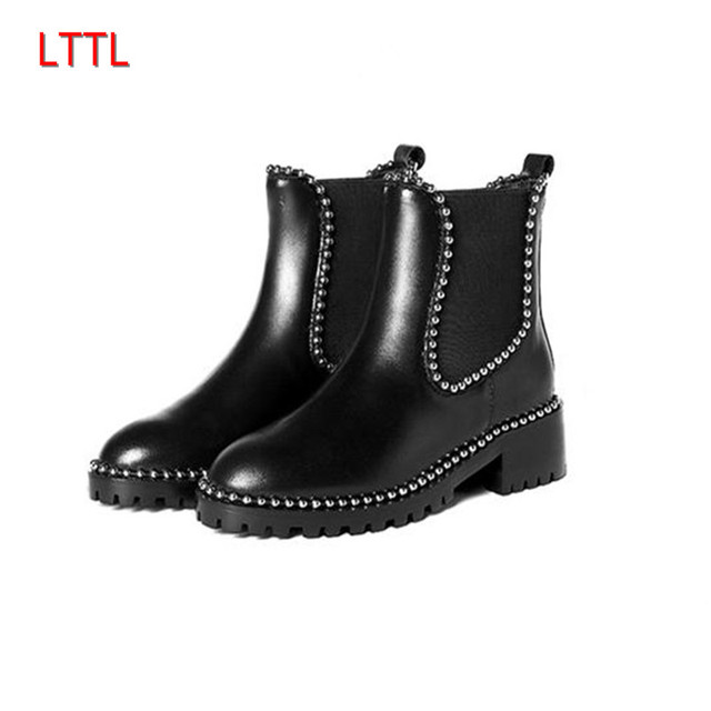 b75a1226b0 European Style Runway Thick Heel With Rivet Ankle Boots Stretch Elastic Round  Toe Short Booties For Women