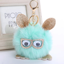 2018 Lovely Owl Faux Rabbit Fur Ball Keychain Women Fluffy Animal Rabbit Pompom Pendant Key Rings Key Holder Bag Ornaments Gifts(China)
