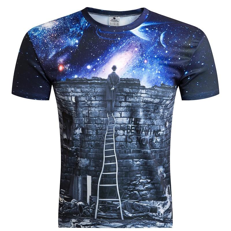Новинка 2018 г. европейский и американский Для мужчин/мальчик футболка 3D с модным принтом человек просмотра метеорный поток пространство Galaxy ...