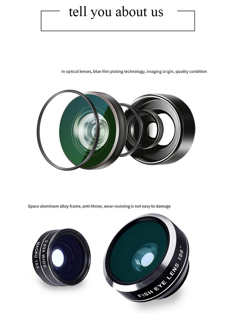 APEXEL 4 in 1 8X Telephoto Telescope Lens+Macro Lens+Wide Angle Lens+Fisheye Lens External Camera Lens For IOS Android Phone 3