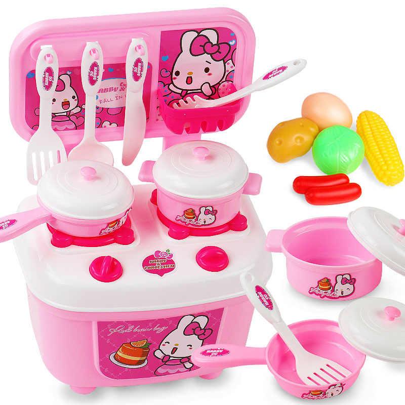 Miniaturowy kuchnia z tworzywa sztucznego zabawy w odgrywanie ról jedzenie dla dzieci zabawki dla dzieci dla dziewcząt chłopców symulacja naczynia do gotowania kuchnia zestaw zabawek