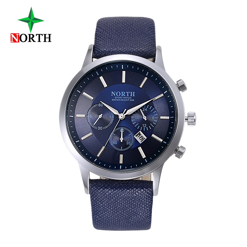 Luxury Brand North font b Men b font Quartz Watches Genuine Leather Waterproof Casual Wrist watches