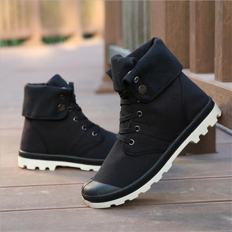 New Fashion Men Canvas Army Boots High-top Military Boots Fashion Men Ankle Boots High Quality Male Shoes Flat Heel Martin Boots