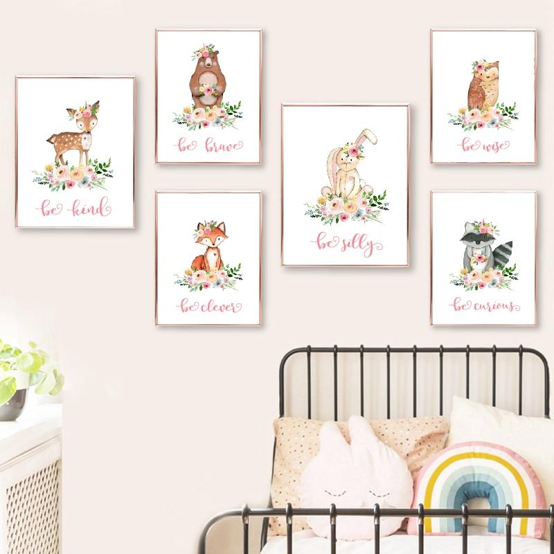 Woodland Animals Poster Pink Nursery Decoration