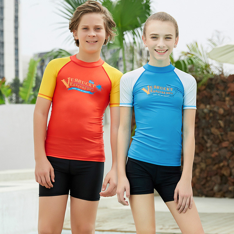 Kids Weisuit Swimwear Sunscreen Youth Split Diving Suit Short-sleeved Child Floating Diving Prevent Jellyfish Clothes