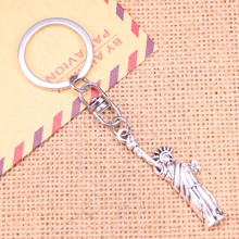 20pcs New Fashion Keychain 49x14mm statue of liberty new york Pendants DIY Men Jewelry Car Key Chain Souvenir For Gift