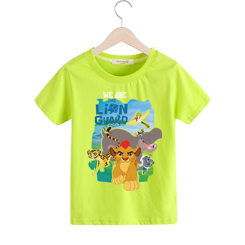 Children Cartoon The Lion Guard T-shirt For Boy Girls 9 Colors Tee Tops Clothes Kids Summer Short Sleeves Tshirt For Baby TX027 black hollow out round neck short sleeves t shirt