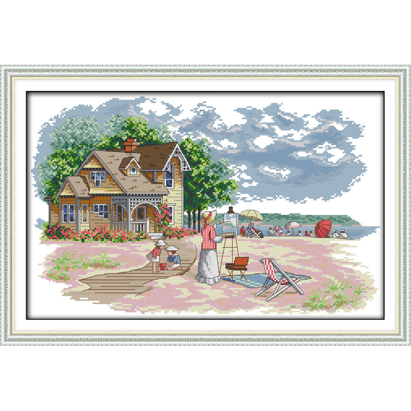 Everlasting love Outdoor activities Chinese cross stitch kits Ecological cotton stamped 11CT DIY New year decorations for home