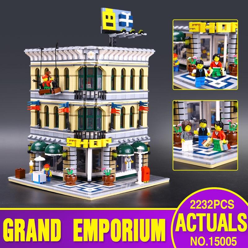 Presale font b LEPIN b font 15005 2182Pcs City Creator Grand Emporium Model Building Kits Minifigures