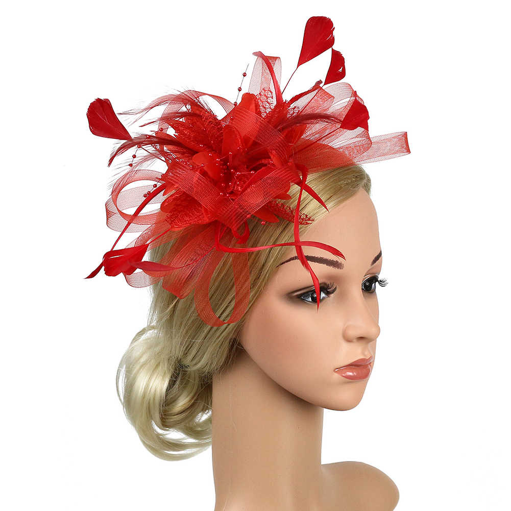 Church Feather Mesh Fascinator Headband Banquet Women Wedding Bowknot Cocktail Bridal Party Hat Hair Accessory Fedoras Gift