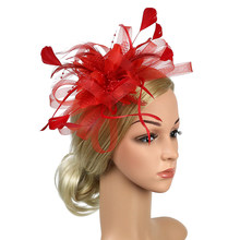 Church Feather Mesh Fascinator Headband Banquet Women Wedding Bowknot Cocktail Bridal Party Hat Hair Accessory Fedoras Gift(China)