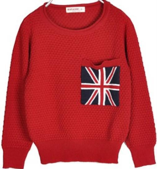 Moda nuevo otoño Kids bandera de gran bretaña cardigan suéter del suéter ropa de los niños envío gratis