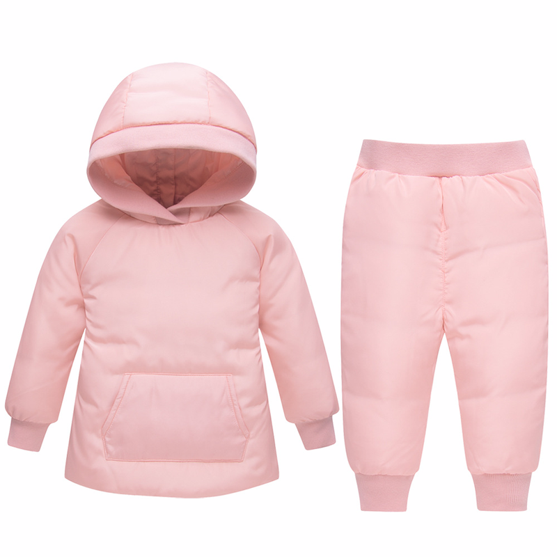 Winter Baby Clothes Solid Toddler Snowsuit Boys Girls Ski Suit Children Duck Down Clothing Set Infant Warm Jacket Pants Overalls 2pcs set kids clothes down jacket rompers sport ski suit girls boys clothes toddler baby tracksuit winter children clothing