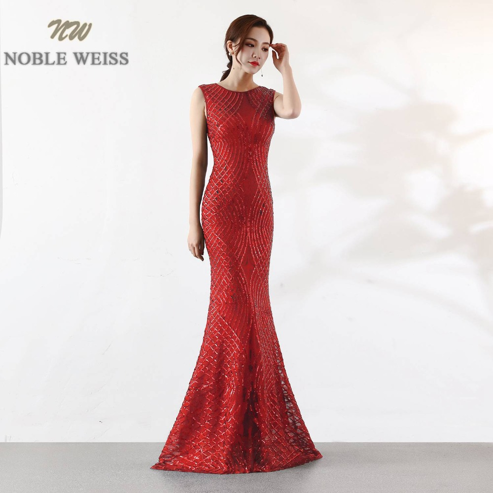 NOBLE WEISS Gorgeous Prom Dress O Neck Bling Bling Sparkly Slim Simple Corset Luxurious Party Dress