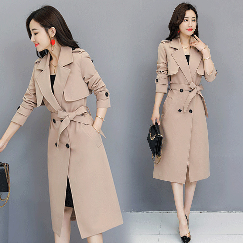 New Women   Trench   Coat Spring 2019 Autumn Fashion All-match Adjustable Waist Slim Medium-length Windbreaker Tops Outerwear Female