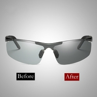 Sport Semi Rimless TAC Polarized Photochromic Sunglasses Driver Rider Goggle Chameleon Change color Glasses Men Women