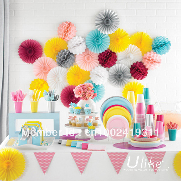 16 100pcs party tissue fan paper fan Tissue flowers party favor