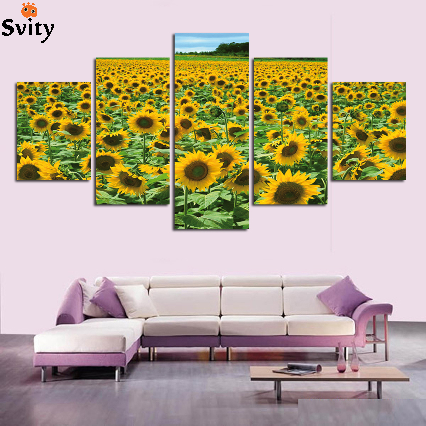 Free shipping HD sunflower Flower Oil Painting Wall Picture for Living Room Home decor Unframed Modular Painting Art Canvas A69