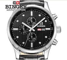 Switzerland men's watch luxury brand Wristwatches BINGER Quartz leather strap steel waterproof 100M BG-0402-4