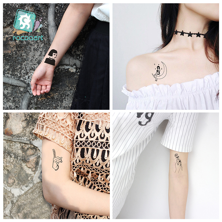 25 Sheets Different Black White Small Tattoo Dark series girl Design Unique Temporary Tattoo Sticker Body Art Fake Hands Tatoo in Temporary Tattoos from Beauty Health