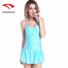 SWIMMART swimwear women spa skirt conjoined conservative swimsuit small chest gather plus size swimwear swimming suit for women one piece skirt style conservative cover belly was thin angle women small chest steel tube gather swimsuit paternity hot spring