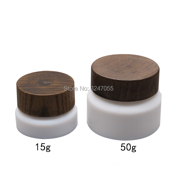 15g50g Empty Cosmetic Cream Container n Wooden Lid, Beauty Eye Cream Refillable Pot, High Quality Mask Packing Bottle n Wood Cap 100g white plastic cream jar with bamboo cover wooden lid empty cosmestics packing container high quality bamboo pot 10pcs lot