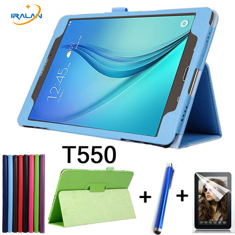 For Samsung Galaxy Tab A 9.7 SM-T550 SM-T551 SM-T555 T550 Case Folding Flip Stand PU Leather Cover Shell Stand Case + film + pen 360 degree rotating pu leather case stand for galaxy tab a 9 7 t550